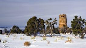 Torre del reloj en tormenta del invierno Foto de archivo libre de regalías
