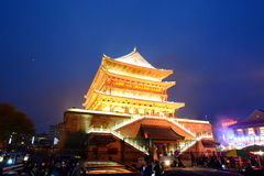 Torre del tambor por noche E China foto de archivo libre de regalías
