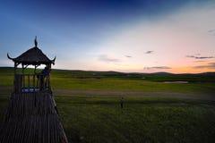 Torre dell'allerta del posto di guardia del pascolo di Mongolia Interna Immagine Stock Libera da Diritti