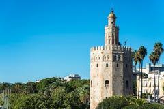Torre dell'oro in Siviglia, Spagna del sud Immagini Stock Libere da Diritti