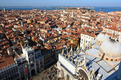 Torre dell'Orologio and cathedral of san marco. The view from above of Torre dell'Orologio and  the st. mark's square Royalty Free Stock Photos