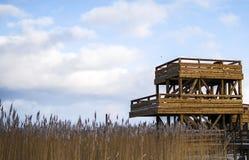 Torre dell'orologio dell'uccello a Riga Lettonia vicino alla linea di mare ad orario invernale Fotografia Stock