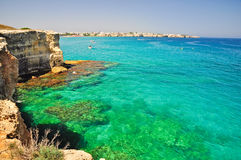 Torre dell'Orso cliff in Apulia, Italy. Royalty Free Stock Images