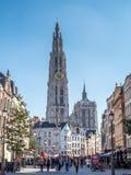 Torre della cattedrale della nostra signora a Anversa Immagini Stock Libere da Diritti