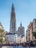 Torre della cattedrale della nostra signora a Anversa Immagini Stock