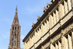 Torre della cattedrale della nostra signora a Strasburgo Fotografie Stock