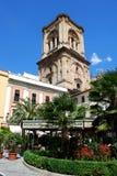 Torre della cattedrale e caffè, Granada Immagini Stock