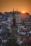 Torre della chiesa della st Nicolas, Praga, repubblica Ceca Fotografia Stock Libera da Diritti