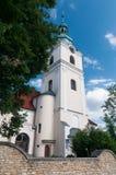 """Torre della chiesa dello sci di ÅšlÄ del """"di KamieÅ… Stein lordo - un villaggio nel distretto amministrativo di Gmina Gogolin immagine stock"""