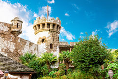 Torre della parete del castello Immagine Stock