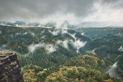 Torre della roccia dell'arenaria nella valle profonda di autunno del Bohemian Svizzera del parco nazionale fotografia stock libera da diritti