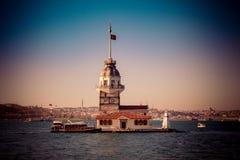 Torre delle ragazze situata a Costantinopoli immagine stock