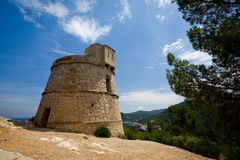 Torre Des Molar Ibiza. In the north of the isle near the town of Puerto San Miguel you can find this old guard tower, torre des molar. On the lookout for pirates royalty free stock photos