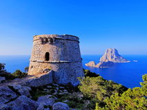 Famous tower of Savinar on Ibiza Island stock image