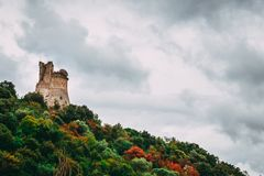 Torre di Acquapuzza. Autumn on the long-forgotten tower Torre di Acquapuzza, which lies abandoned near Sermoneta Royalty Free Stock Image