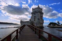 Torre di Belem a Lisbona sul Tago del fiume, Portogallo Immagine Stock