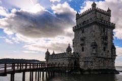 Torre di Belem a Lisbona sul Tago del fiume, Portogallo Fotografia Stock