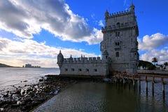 Torre di Belem a Lisbona sul Tago del fiume, Portogallo Fotografia Stock Libera da Diritti