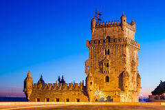 Torre di Belem nella città di Lisbone, Portogallo Fotografia Stock Libera da Diritti