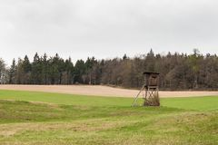 Torre di caccia su un campo vicino ai cervi di caccia della foresta Giorno nuvoloso Immagini Stock