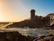 Torre di Calafuria, Seashore and Choppy Sea at Sunset in Livorno Stock Photos