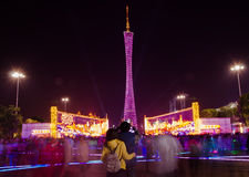 Torre di Canton alla manifestazione della luce notturna Immagine Stock Libera da Diritti