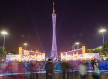 Torre di Canton alla manifestazione della luce notturna Fotografia Stock