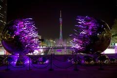 Torre di cantone nelle scene di notte di Canton Cina Immagine Stock Libera da Diritti