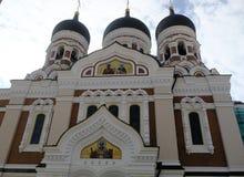 Torre di chiesa del ` s della st Olaf, Tallinn, Estonia Fotografia Stock