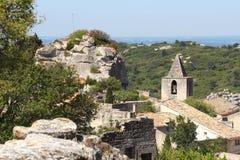 Torre di chiesa di Les Baux-de-Provenza, Francia Fotografia Stock Libera da Diritti