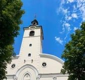 Torre di chiesa il santuario della nostra signora di Trsat fotografia stock libera da diritti