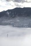 Torre di comunicazioni nel paesaggio di inverno della neve congelato i Colorado Rockies della nebbia fotografie stock