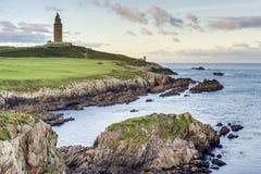 Torre di Ercole in un Coruna, Galizia, Spagna. Fotografie Stock Libere da Diritti