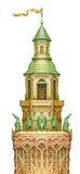 Torre di fiaba isolata su bianco Materiale illustrativo grafico acquerello Fotografia Stock
