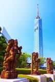 Torre di Fukuoka con le statue indiane del dio Immagini Stock