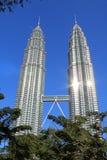 Torre di Klcc Petronas con gli alberi Immagine Stock Libera da Diritti
