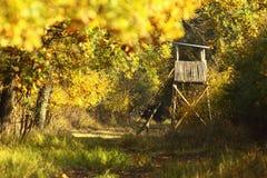 Torre di legno di caccia nella foresta Immagini Stock Libere da Diritti