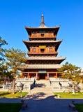 Torre di legno del tempio del ` s Huayan di Datong Immagini Stock