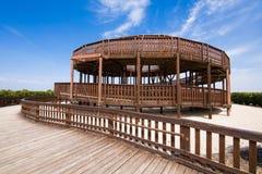Torre di legno dell'allerta nel parco di Valdebebas di Madrid Fotografie Stock