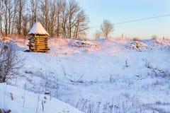 Torre di legno dell'allerta Vecchie fortificazioni russe Immagine Stock
