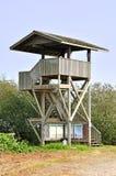 Torre di legno dell'orologio nella zona tortuosa della fauna selvatica per osservare paesaggio Fotografia Stock Libera da Diritti