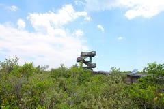 Torre di legno sul fiume Fotografia Stock Libera da Diritti