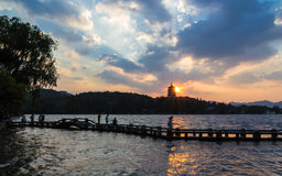 Torre di Leifeng, tramonto Fotografia Stock Libera da Diritti