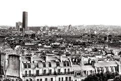 Torre di Montparnasse di giro e tetti Francia di Parigi Fotografie Stock Libere da Diritti