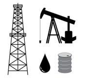Torre di olio con la pompa ed il barilotto - insieme Immagini Stock Libere da Diritti