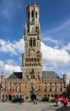 Torre di orologio del campanile di Bruges Belgio Fotografia Stock