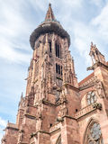 Torre di orologio della cattedrale della cattedrale di Friburgo Immagine Stock