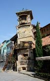 Torre di orologio di caduta del teatro del burattino di Tbilisi, Georgia Fotografia Stock Libera da Diritti