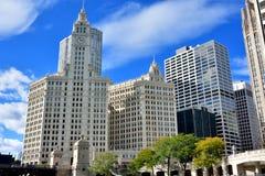 Torre di orologio di Wrigley, Chicago Immagini Stock Libere da Diritti