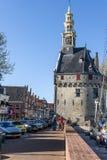 Torre di orologio di Hoofdtoren in Hoorn, Paesi Bassi Fotografia Stock